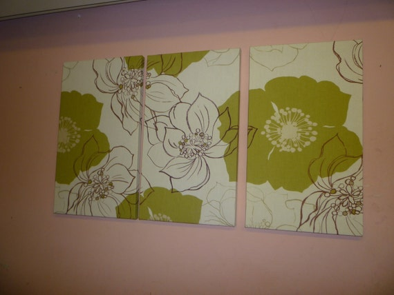 large fabric wall art brown green funky retro floral designer cotton canvas weight tryptich picture - Wall Art Designer