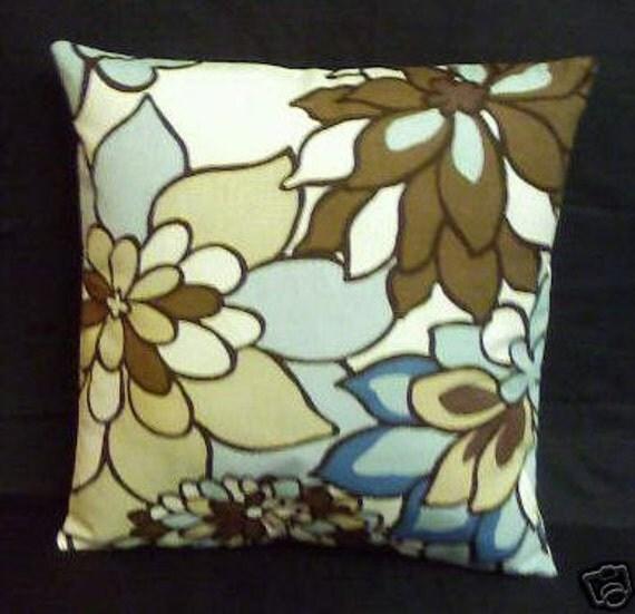 "Duck Egg Blue Taupe Brown Cream White Funky Retro Designer Cushion Cover Pillowcase Sham Slip 16"" (40cm)"