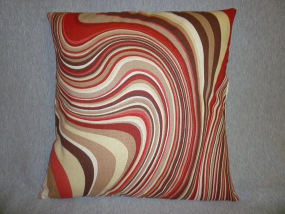 "RESERVED for Sarah Red Cushion Pillow Covers Brown Cream Designer Pillowcase Sham Slip PAIR 16"" (40cm)"