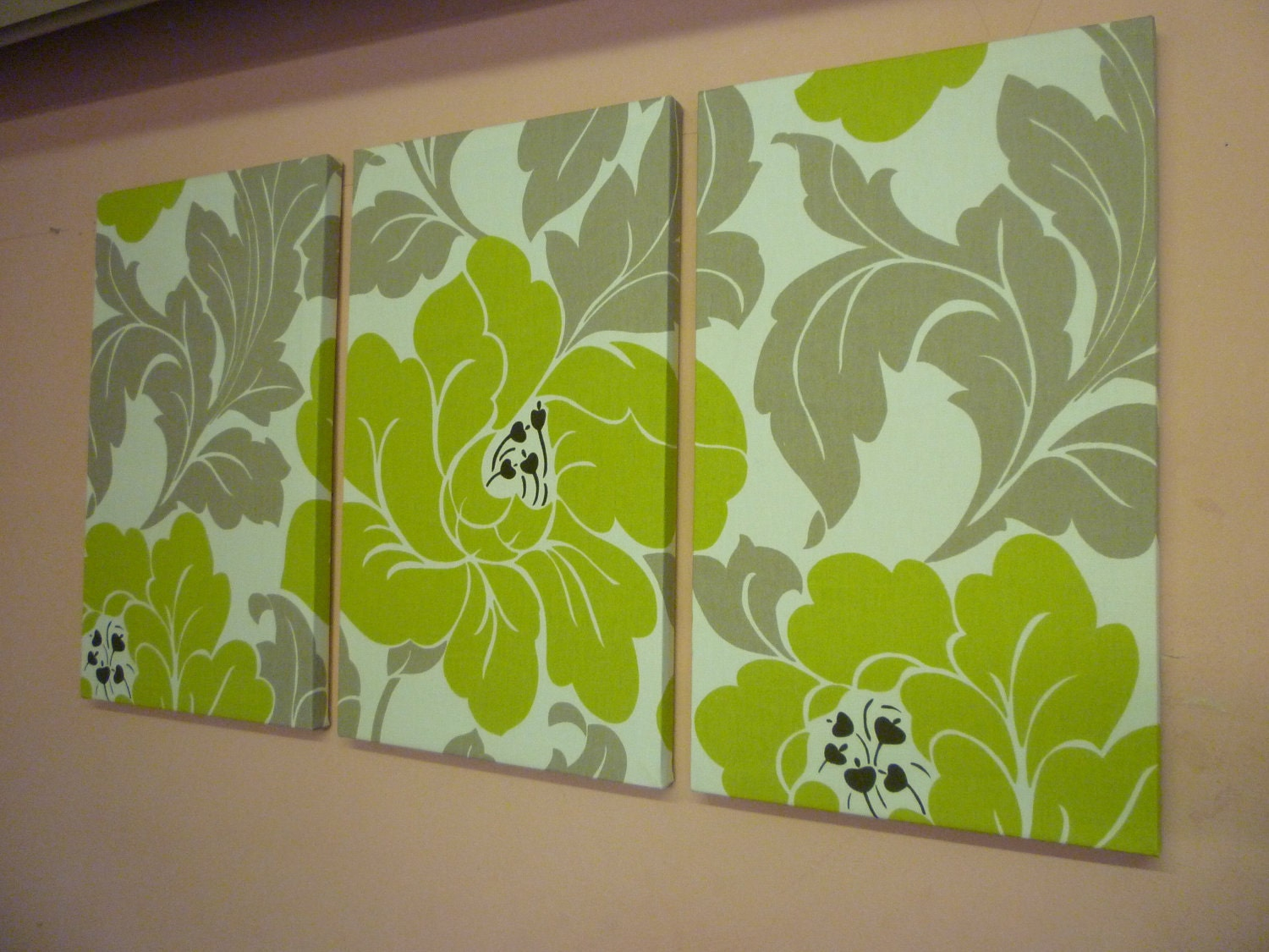 Big green taupe fabric wall art funky floral designer cotton for Fabric wall art