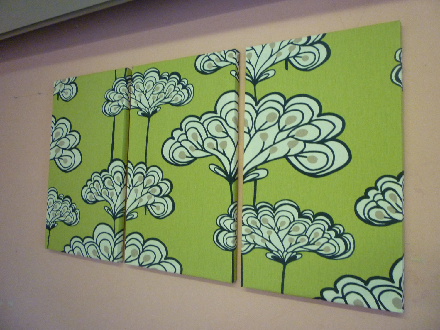Lime Green White Fabric Wall Art Funky Retro By Wickedwalls