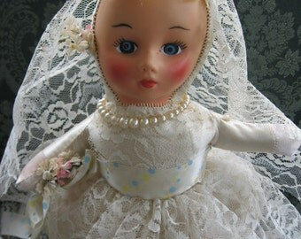 Ain't She Sweet - Vintage Pajama Bag 1950's 1960's Bride Doll - Wedding Shower Centerpiece