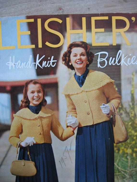 "Vintage 1959 ""Fleisher's HAND KNIT BULKIES"" Knitting Pattern Book"