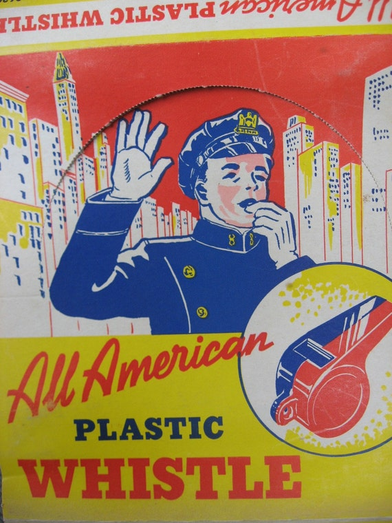 1950s All American Plastic Whistle Box - Fun Vintage Display