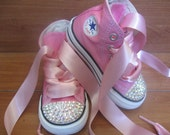 CUSTOM ORDER for MARY - Pink Bling Converse Hi-tops Size Infant/Toddler 3 with Swarovski Crystals