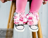 LIL SIS or Big SIS Bling Converse in Pink or Black Hi-tops with Boutique Bows (Sizes Infant 2 - 10 Toddler) and Genuine Swarovski Crystals