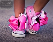 PINK CAMO CONVERSE Bling Hi-top Sneakers in Size Infant 4 - Toddler 10 with Spectacular Swarovski Crystals