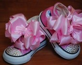 PINK SPARKLY CONVERSE Hi-tops with Pink Satin Boutique Bows (Size Infant 2 - Toddler 10) and Genuine Swarovski Crystals