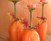Pumpkin Patch Wine Glass Candle Holders Set of 3 - neatstuf