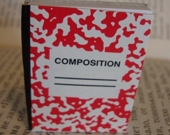 Itsy Bitsy Teeny Weeny Mini Red Composition Book Brooch Pin - 50 sheets