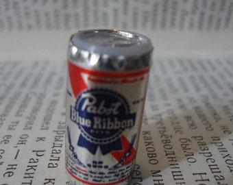 Tiny Pabst Blue Ribbon Beer Can Brooch Pin - MINI Beer Badge