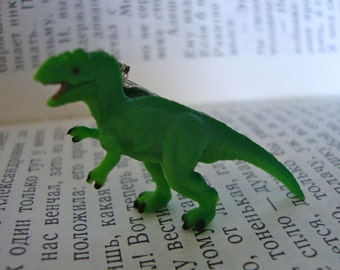 Tiny T-Rex Dinosaur Badge - Green Tyrannosaurus Rex Brooch Pin - Terrible Lizard Pinback Button