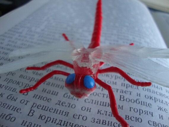 Red Dragonfly Brooch Pin - Insect Pin - Bug Brooch