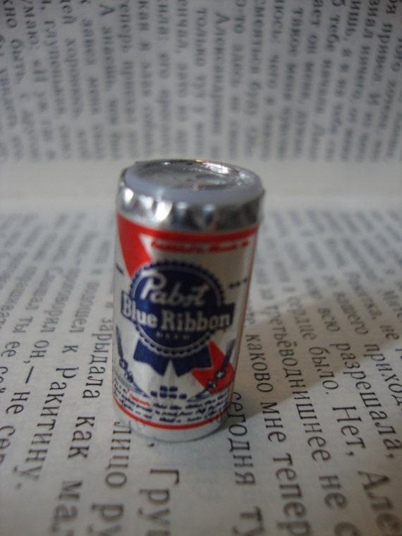 Tiny Pabst Blue Ribbon Beer Can Brooch Pin Mini Beer Badge