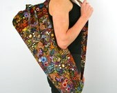 Yoga Bag in Amelia Caruso Effervescence on Black with a Zipper Pocket Inside- Free Shipping