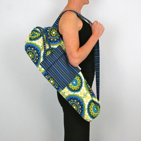 Yoga Mat Bag in Retro Green and Blue Mandalas with a Zipper Pocket