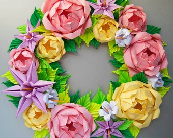Baby Pink and Yellow Rose Origami Wreath, Easter wreath, Mother's day Flower Wreath, Door Wreath