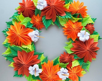 Orange Dahlia Origami Paper Wreath, Thanksgiving Fall Wreath
