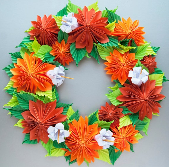 Orange Dahlia Origami Paper Wreath