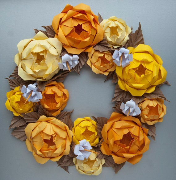Yellow Rose Origami Paper Wreath, Thanksgiving Holiday Fall Wreath