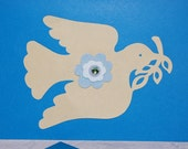 Dove of Peace Original Handmade All Occasion Cobalt Electric Blue Collage Art Card at The Blue Hours