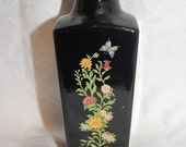 Vintage Black Bottle Vase with Wildflowers and Butterfly Motif from Avon Wedding Table Decor