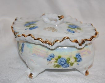 Vintage Blue Rose Wedding Ring Bearer Jewelry Box Something Blue Something Old for the Bride