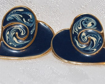 Heart Shaped Abstract Style Midnight Blue Post Earrings at The Blue Hours