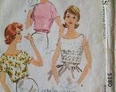 Misses Ladies Womens Womans Blouse Shirt Top Vintage 1960s 60s Sewing Pattern Size 12