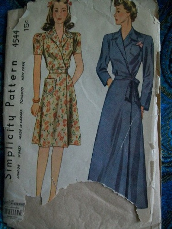 Vintage Simplicity 1940's House Coat Robe and Dress