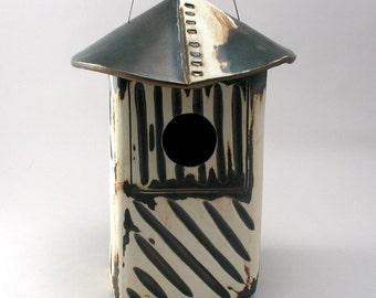 Ceramic Bird House, Pottery Bird House, Rustic Bird House