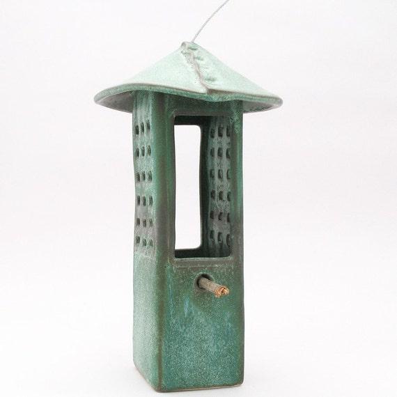 Porcelain Bird Feeder in Weathered Bronze Glaze