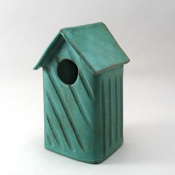 Bird House-Hand Built- Ceramic Bird House-Bird-Garden Decor-Garden Art-Home and Garden-Pottery Bird House-Turquoise-Ready to Ship