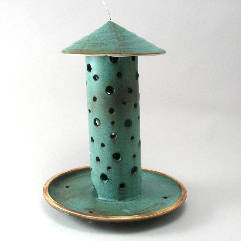 ceramic bird feeder by cherylwolffgarden on etsy
