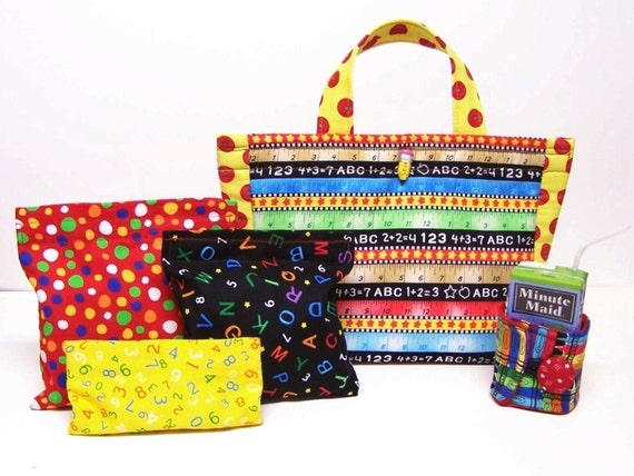 PDF Pattern Tutoral  Insulated Lunch Bag Set.... INCLUDES Reusable Sandwich and Snack Bags  PLUS...INSULATED JUICE BOX COZY .....3 PATTERNS IN 1