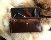 Wristlet Tri-fold Woman Leather Clutch / Wallet in Dark Brown