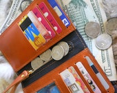 New style, ladies leather clutch wallet in Orange