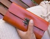Free shipping Bifold Leather Wallet/Clutch in Orange Tan