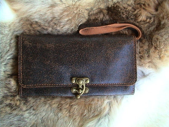 Classic Vintage Bifold Cracked Leather Wallet/Clutch in Black  Brown