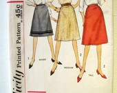 Vintage 1960s Skirt Sewing Pattern Simplicity 4466