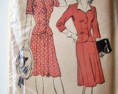 Vintage 1940s/1950s Womans Two Piece Dress Skirt Suit Jacket by Vicki Vintage Patterns on Etsy