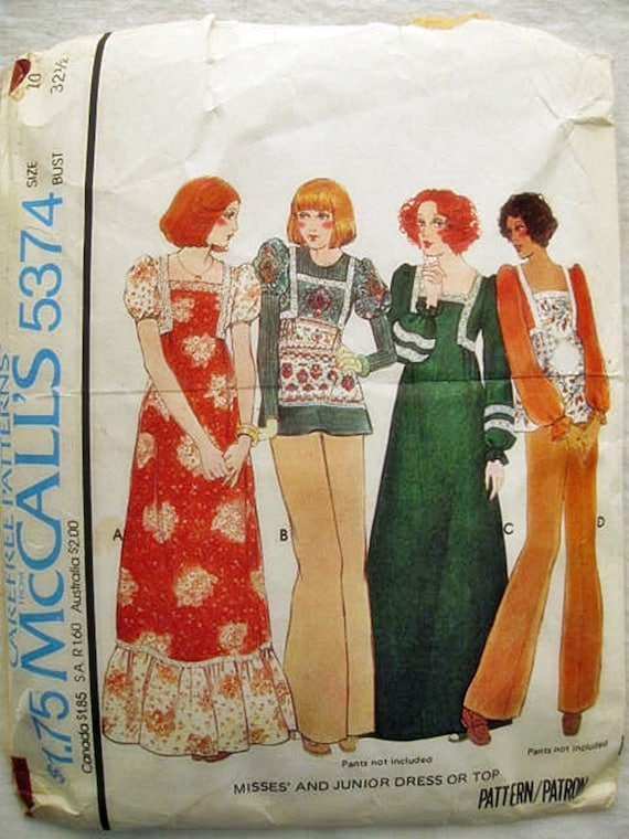 Vintage 1970s McCalls Sewing Pattern 5374 Misses Boho Peasant Dress, Blouse 10/32.5  by Vickivintagepatterns on Etsy