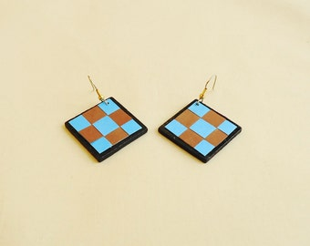 Checker Blue Earings