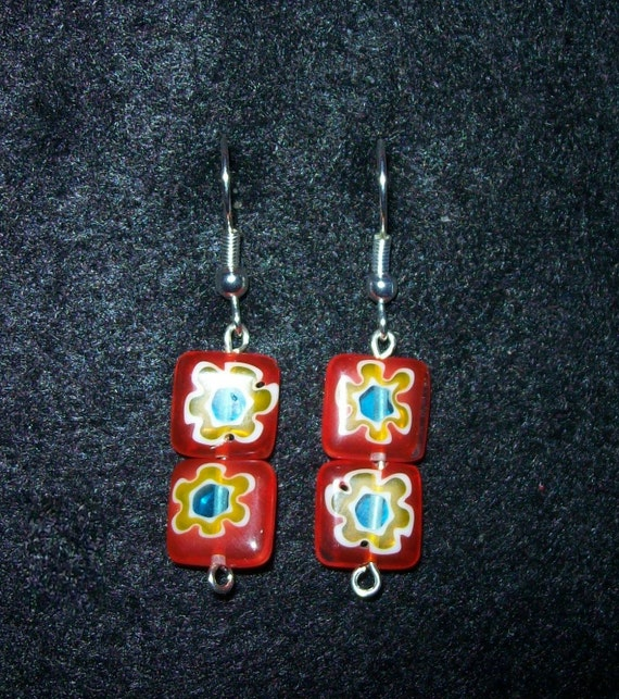 Red flowered earrings