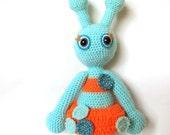 Alien girl crochet doll soft toy blue orange turquoise neon