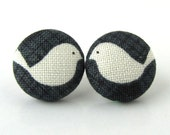 Bird button earrings studs spring white black gray grey love