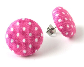 Pink stud earrings - pink button earrings - pink fabric earrings - white polka dots