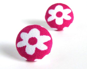 Pink button earrings - pink stud earrings - pink fabric earrings - white flower cute magenta small - spring gift for her