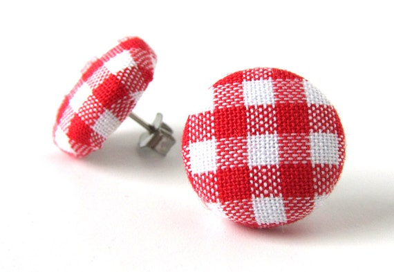 Red gingham earrings - tartan stud earrings - red button earrings - check fabric earrings - plaid post earrings - gift for her - white