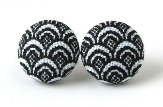 Black stud earrings white feathers